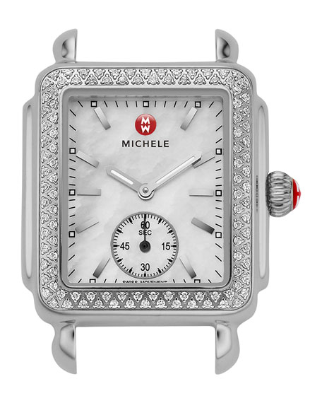 MICHELE Deco 16 Stainless Diamond-Bezel Watch Head &