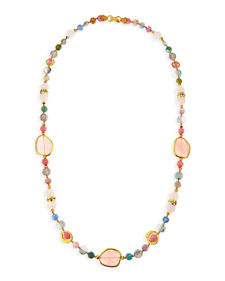 "Multi-Stone Single Strand Necklace, 36""L"