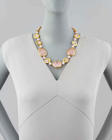 Short Light Pink Quartz Necklace