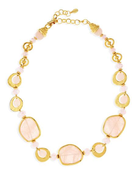 Jose & Maria Barrera Short Light Pink Quartz Necklace