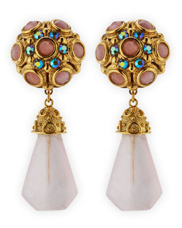 Jose & Maria Barrera Pink Quartz Drop Clip-On Earrings