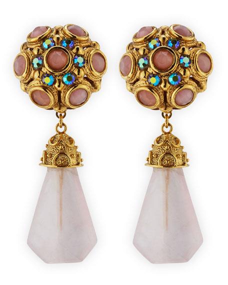 Pink Quartz Drop Clip-On Earrings