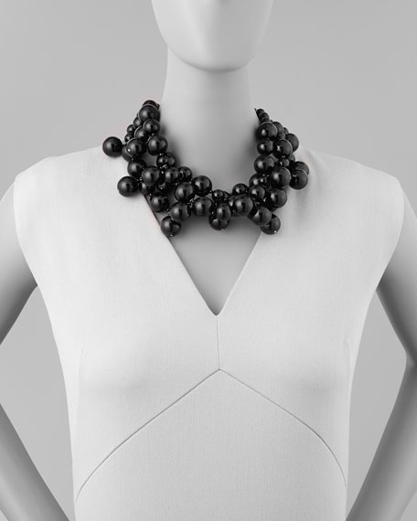 Beaded Cluster Necklace, Black