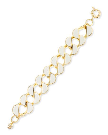 "Half-Moon Howlite and Steel Bracelet, 7 1/2""L"