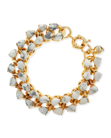 "Teardrop Howlite and Brass Bracelet, 7 1/2""L"