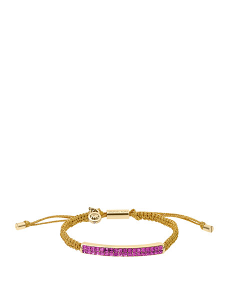 Holiday Macrame Cord Bracelet, Iris/Golden
