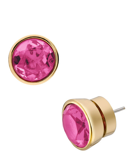 Crystal Stud Earrings, Berry/Golden
