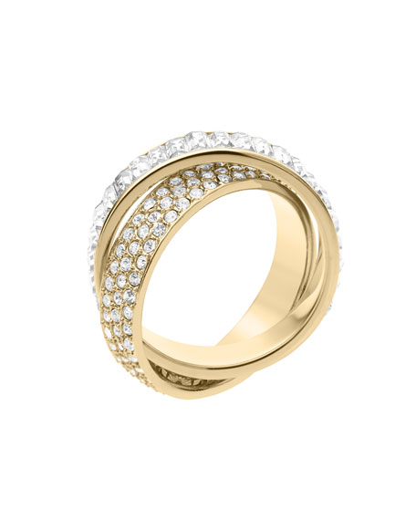 Pave/Baguette Eternity Ring, Golden