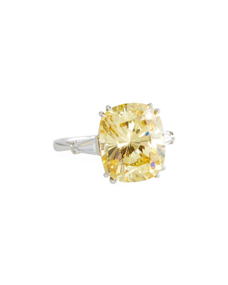 Fantasia by DeSerio Canary Cubic Zirconia Cushion Ring,