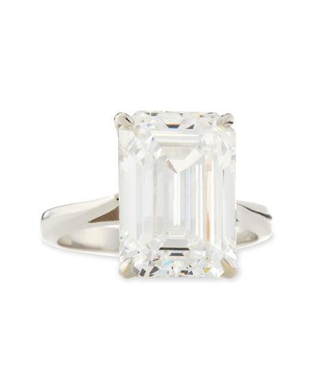 Emerald-Cut Cubic Zirconia Solitaire Ring, 9.0 TCW