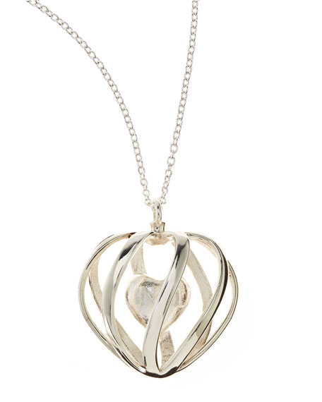 Monogrammed 3-D-Printed Sterling Silver Heart Pendant Necklace