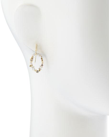 18k Golden Ice Diamond Oval Earrings