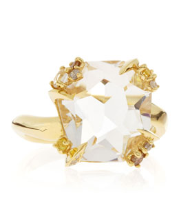 Alexis Bittar Fine 18k Gold Diamond-Prong Ice Quartz Ring