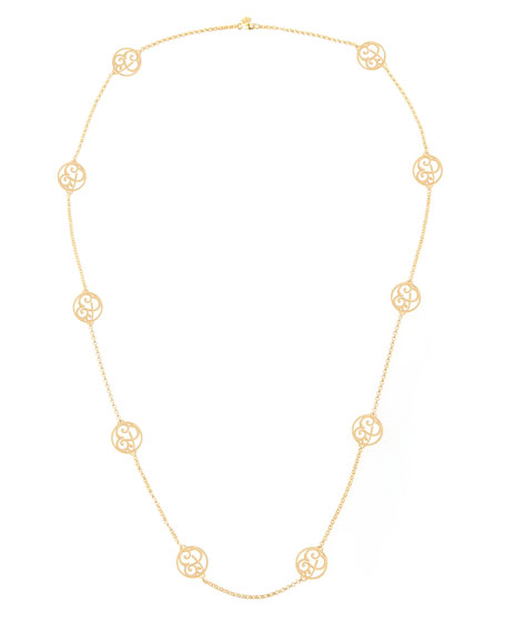2-Initial Monogram Station Necklace, Yellow Gold, 34""