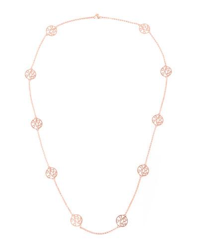 K Kane 2-Initial Monogram Station Necklace, Rose Gold,