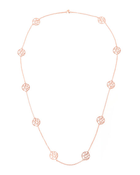 2-Initial Monogram Station Necklace, Rose Gold, 34""
