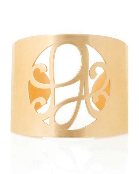K Kane 2-Initial Monogram Cuff Bracelet, Yellow Gold