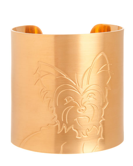18k Gold-Plated Yorkie Dog Cuff
