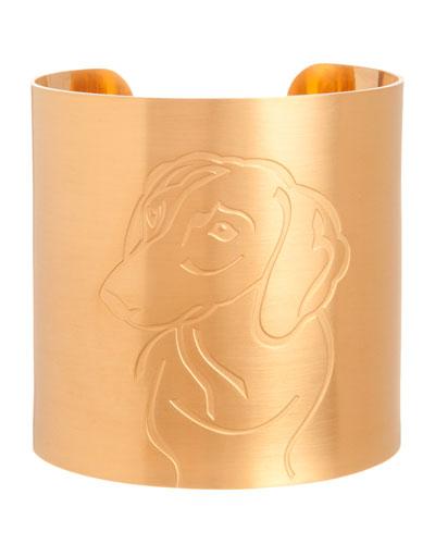 18k Gold-Plated Dachshund Dog Cuff