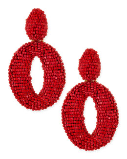 Oscar de la Renta Oscar O Crystal Clip Earrings, Red Sorbet
