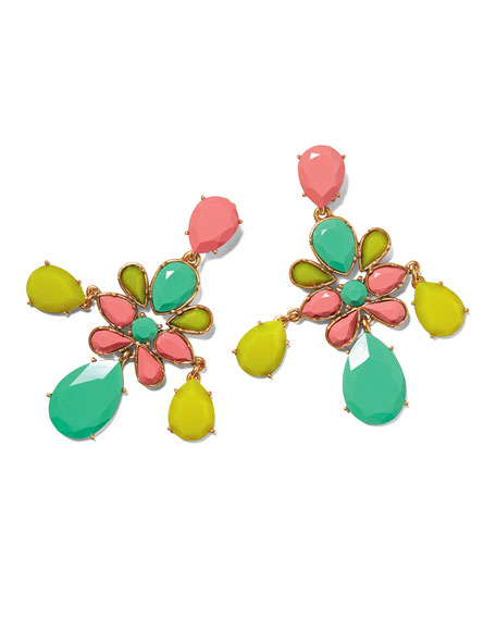 Faceted Chandelier Clip-On Earrings, Multicolor