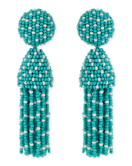 Oscar de la Renta Short Dotted Beaded Tassel Clip-On Earrings, Aqua