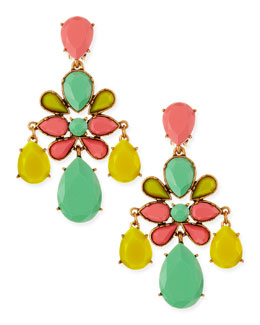 Oscar de la Renta Leafy Chandelier Clip-On Earrings, Aqua Sorbet