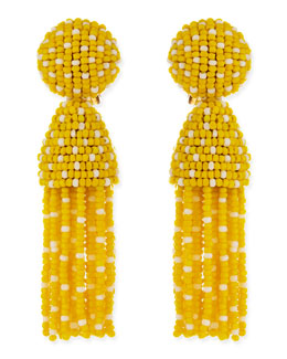 Oscar de la Renta Short Dotted Beaded Tassel Clip-On Earrings, Yellow