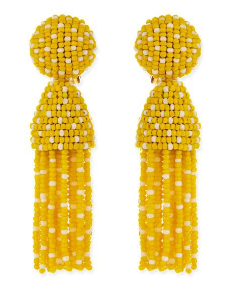 Short Dotted Beaded Tassel Clip-On Earrings, Yellow