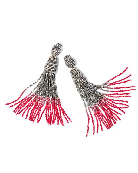Long Ombre Bead Tassel Clip-On Earrings, Silver/Pink