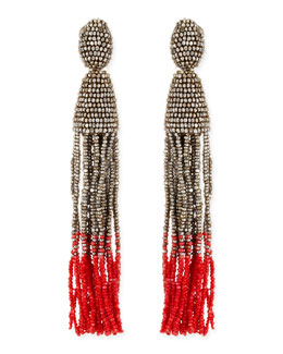 Oscar de la Renta Long Ombre Bead Tassel Clip-On Earrings, Silver/Pink