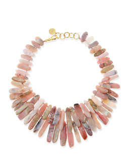 Nest Pink Opal Point Hand-Knotted Necklace