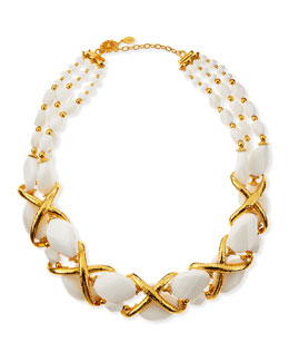Jose & Maria Barrera 24k Gold Plate Braid & White Beaded Collar Necklace