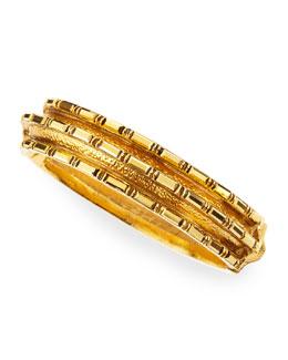 Jose & Maria Barrera Bronze Crystal Baguette 24k Gold-Plate Bangle