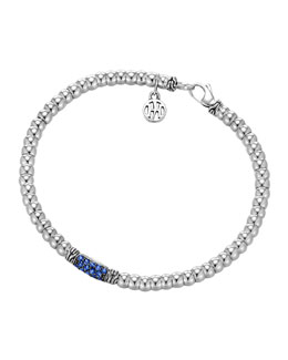 John Hardy Bedeg Silver Beaded Bracelet with Blue Sapphires