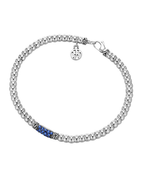Bedeg Silver Beaded Bracelet with Blue Sapphires