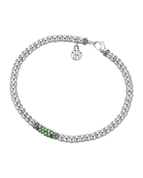 Bedeg Chain Silver Beaded Bracelet with Green Tsavorite