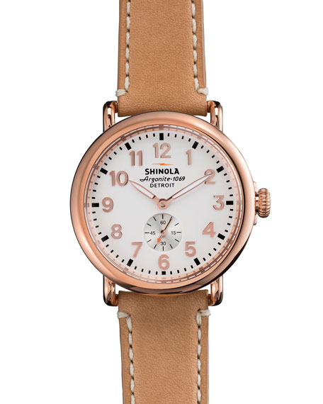 Shinola The Runwell Rose Golden Watch with Taupe