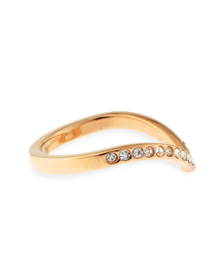 Ultra Mini V Crystal Ring, Rose Golden