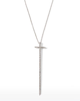 "Roberto Coin 16-18"" White Gold Elongated Cross Diamond Pendant Necklace"