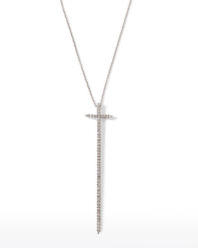 "16-18"" White Gold Elongated Cross Pendant Necklace"