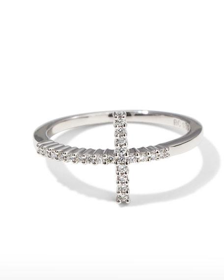 White Gold Diamond Cross Ring