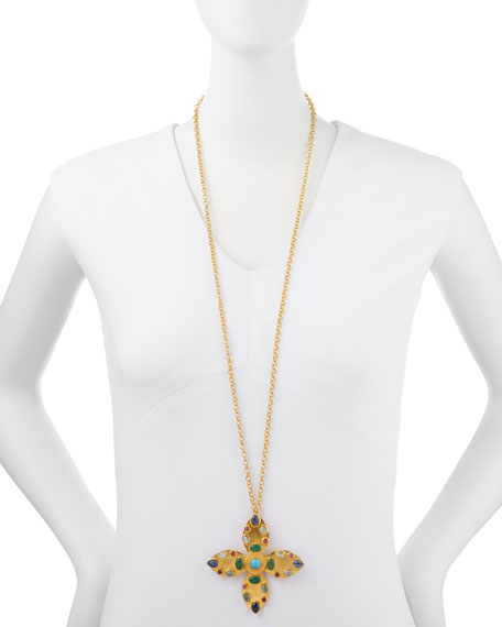 "Brooch/Pendant Necklace with Multicolor Stones, 36"" Chain"