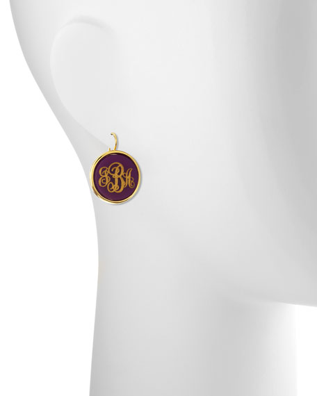 Monogrammed Circle-Drop Acrylic Earrings