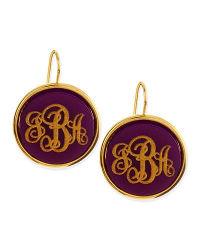 Monogrammed Circle-Drop Acrylic Earrings