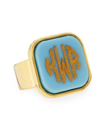 Block-Lettered Square Acrylic Monogram Ring