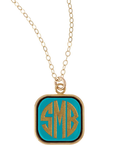 Small Square Acrylic Monogram Pendant Necklace
