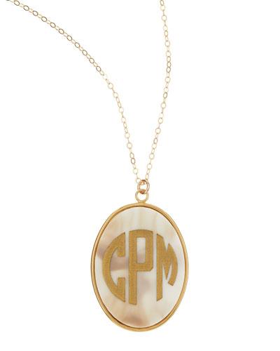 Extra Large Oval Acrylic Block Monogram Pendant Necklace