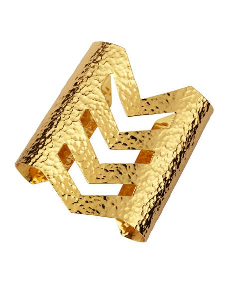 Hammered 22k Gold Chevron Cuff