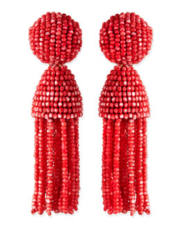 Oscar de la Renta Short Dotted Beaded Tassel Clip-On Earrings, Sorbet